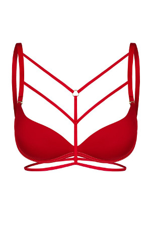 červené ozdobné ramienka na podprsenku Lucy
