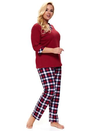 Plus size pyžamo s dlhým rukávom Lady in Red