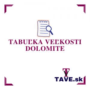 Tabuľka veľkosti Dolomite